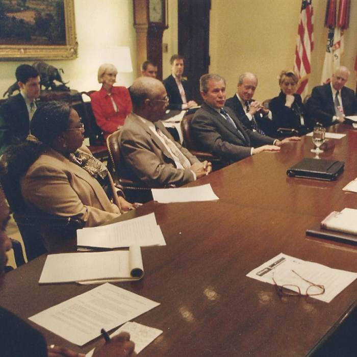 Stutts in a West Wing meeting with President George W. Bush