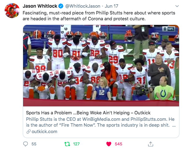 """""""SPORTS HAS A PROBLEM…BEING WOKE AIN'T HELPING"""" By Phillip Stutts"""
